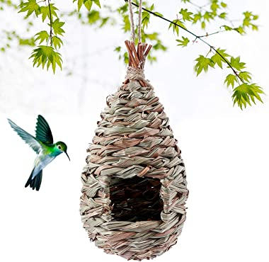 Kimdio Bird House,Winter Bird House for Outside Hanging,Grass Handwoven Bird Nest,Hummingbird House,Natural Bird Hut Outdoor,