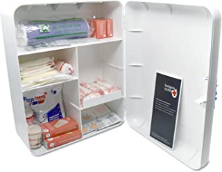 Botiquín Armario de primeros auxilios para pared - con 95 artículos indispensables para realizar curas de emergencia, blanco