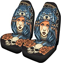 Pinbeam Car Seat Covers Red Tattoo Native American Girl Wolf Headdress Full Color Set of 2 Auto Accessories Protectors Car Decor Universal Fit for Car Truck SUV