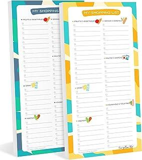 Set de 2 Listas del super para refri magnética, notepad de compras con imán, Shopping List por grupos de alimentos para el...