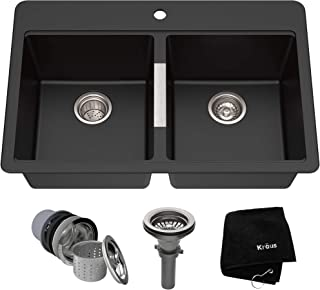 Kraus KGD-433B 33 1/2 inch Dual Mount 50/50 Double Bowl Black Onyx Granite Kitchen Sink