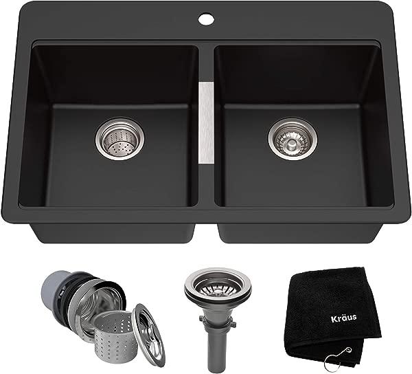 Kraus KGD 433B 33 1 2 Inch Dual Mount 50 50 Double Bowl Black Onyx Granite Kitchen Sink