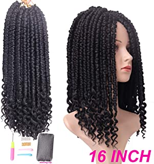 6 Packs Senegalese Spring Twist Hair with Curly Ends 16 Inch Mambo Crochet Hair Synthetic Crochet Braids Hair 85g/pcs (16 Inch, 1B)