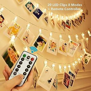 KingYue 20 LED Clip Cadena de Luces LED, 2.5m 8 modos Colgar Fotos de Luces Pinzas con Luz para Colgar Fotos Por decoración, Habitaciones, Bodas, Cumpleaños, Festival, Navidad, blanco cálido