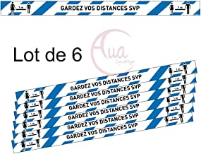 Bleu Gardez Vos Distances Lot de 6 Bandes de Marquage au Sol Autocollant lamin/é AUA SIGNALETIQUE 670x50 mm