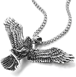 COOLSTEELANDBEYOND Mens Womens Vintage Flying Eagle Grabbing Snake Pendant Necklace Stainless Steel, 30 in Wheat Chain