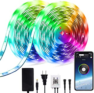 4-FQ Dreamcolor Led Strip Lights Music Bluetooth 10m 32.8ft Multicolor Chasing Effect 300 LEDs Lights Strip Smart Phone APP Control Strip Lights Power Supply Flexible Rainbow Rope Lights Kit Home