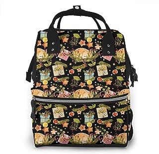 Watercolor Christmas Multi-Function Travel Backpack Nappy Bag,Fashion Mummy Bag