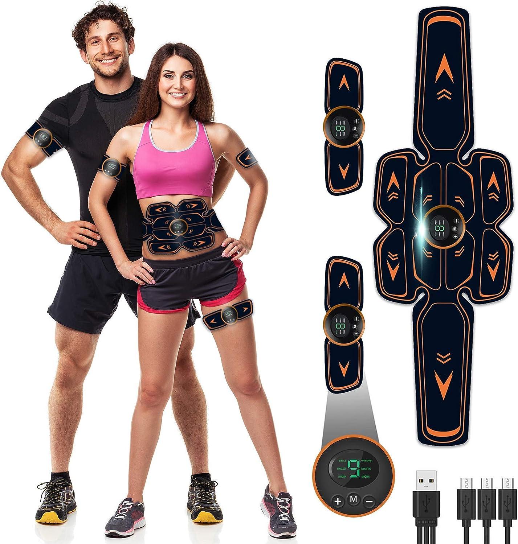 Electroestimulador Muscular Abdominales, Masajeador Eléctrico Cinturón con USB, EMS Estimulación ABS Trainer para Mujeres Hombres Abdomen/Brazo/Piernas/Cintura