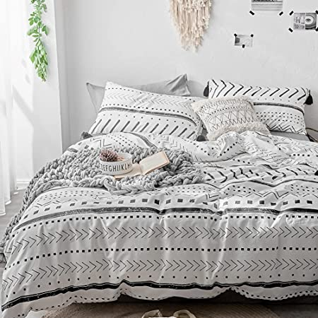 """VClife Cotton White Duvet Cover Full Black Stripe Boho Duvet Cover (90""""x 90"""") with Two Pillow Cases, Lightweight Breathable Minimalism Bohemian Style Aztec Comforter Cover Sets (3 Pcs, Queen)"""