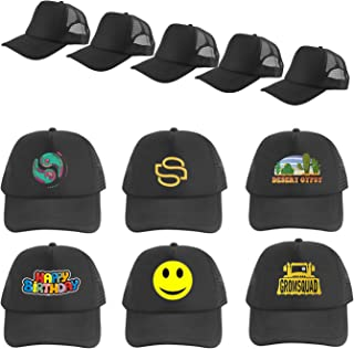 UOhost 5PCS Sublimation Blank Baseball Cap Adjustable net Cap Black hat Hats for Men