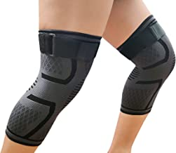 LETHMIK Knee Brace Compression Sleeves,Sleeve with Adjustable Strap Best Support for Running,Jogging,Sports,Joint Pain Relief,Arthritis&Injury Recovery