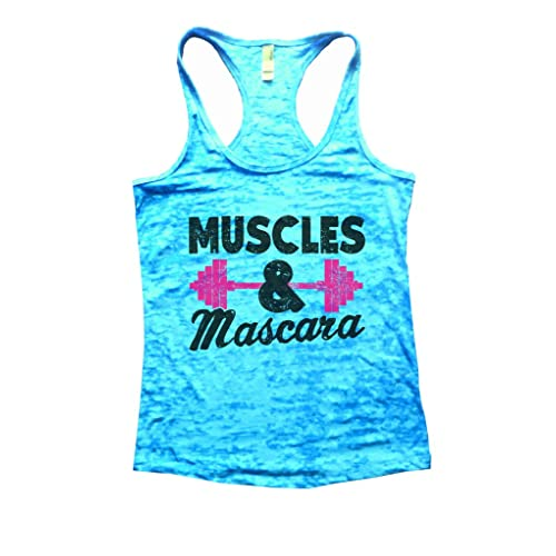 9f43920dc48a49 Funny Threadz Womens Burnout Tank Top Muscles   Mascara II Ladies Yoga Gym  Shirt
