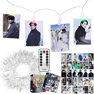 Kpop BTS Merchandise 4 Colors LED Clip Light with Big Photocards, Remote Control 10Ft 20LED and 30Pcs 3.1''x 4.7'' Lomo Ca...