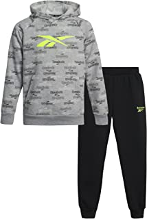 Reebok Boys' Jogger Set - 2 Piece Fleece Hoodie and Sweatpants Kids Clothing Set