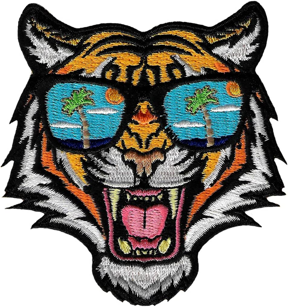 Tiger Sunglasses Patch National uniform free shipping Embroidered Iron-On [Alternative dealer] Applique Beng Roaring