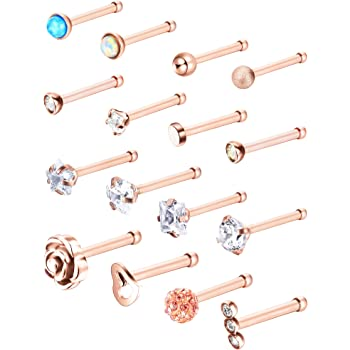 20g Cz Inlaid Stainless Steel Nose Studs Women Men Nose Rings Nose Retainer Body Piercing Jewellery 15pcs Amazon Co Uk Jewellery