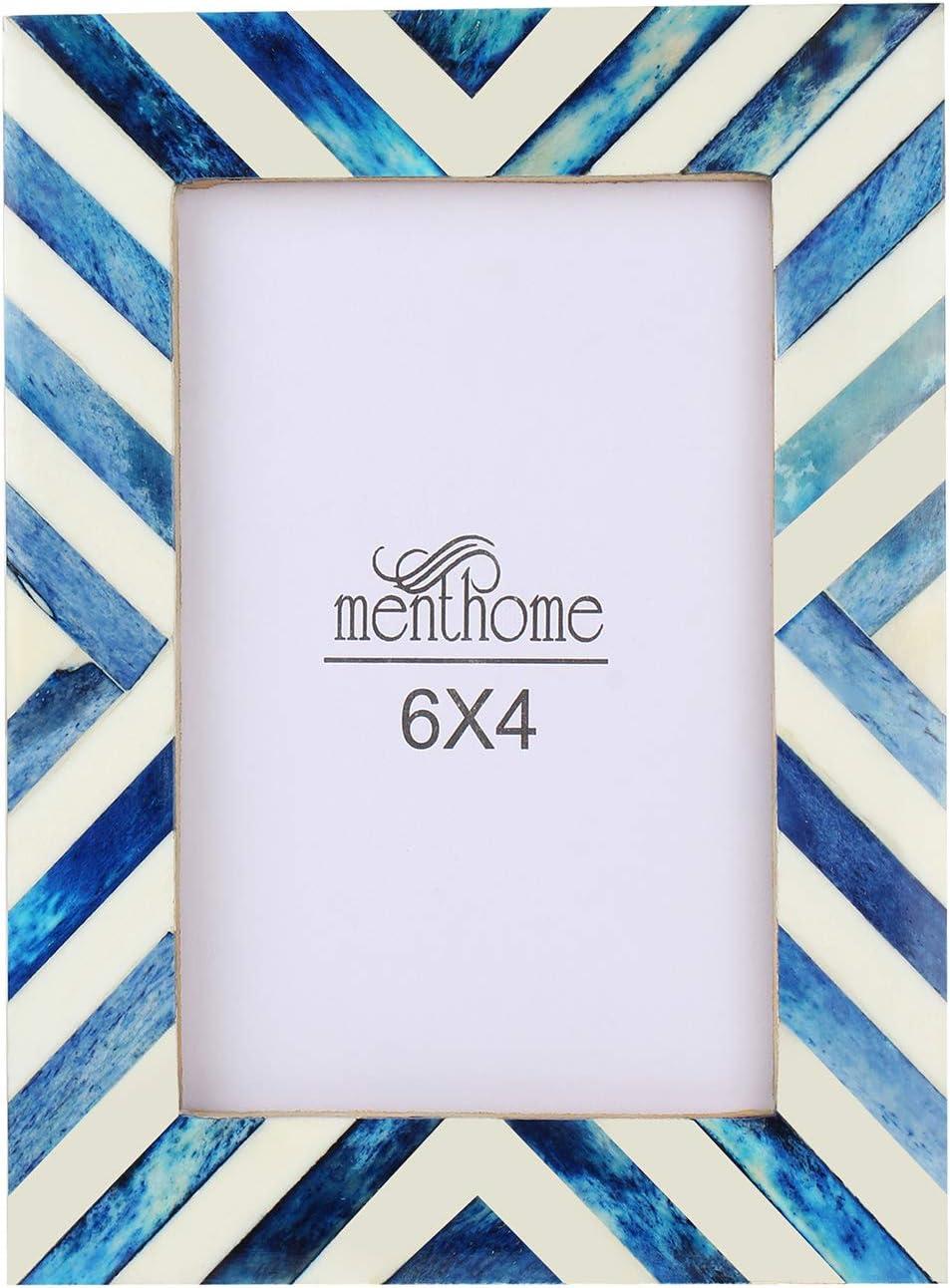 MENTHOME Blue 6x4 Picture Photo Frame Chevron Herringbone Art Wall Decor (Blue Chevron Herringbone, 6X4)