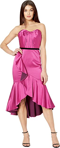 Strapless Draped Sweetheart Stretch Satin Hi-Lo Cocktail