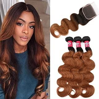 Haha 2 Tone Ombre Hair 3 Bundles With Closure Brazilian Virgin Hair Body Wave Black to Medium Auburn Brown Ombre Human Hair Bundles with Lace Closure T1B/30, 18 20 22+16