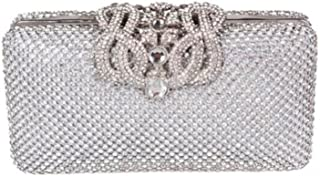 61f35493cc3 High Quality Dazzling Silver Diamante Encrusted Evening bag Clutch Purse  Party Bridal Prom