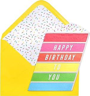 Paislee Paperie 353642 Rainbow Cake Greeting Card, Debossed Puffy Sticker