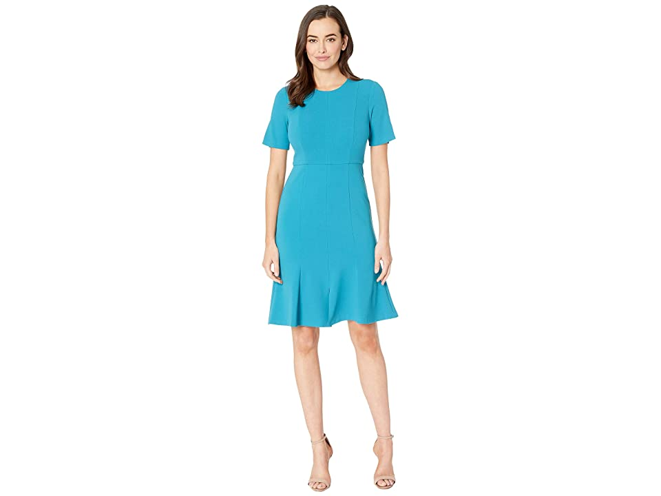 Donna Morgan Crepe Short Split Sleeve Fit and Flare Dress (Midnight/Teal) Women
