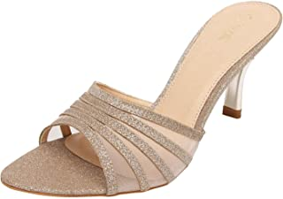 Catwalk Golden Leather Slip-on Heeled Sandals for Women's
