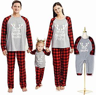 Pijamas Navidad para Familias Invierno Otoño Top+Pantalones Ropa de Dormir para Mamá Papá Niños Bebé Conjuntos Navideños