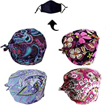 JoyRing Unisex Adjustable Surgical Hat Scrub Cap with Sweatband for Ponytail and Free Reusable Cotton Mask, One Size Fit Most