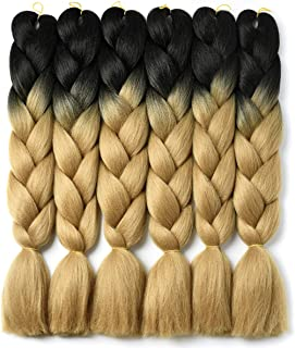 Ombre Braiding Hair Kanekalon Braiding Hair Synthetic Hair Extensions for Braiding Crochet Twist Box Braids 24 Inch 2 Tone Black to Light Brown 6 Packs Jumbo Braiding Hair