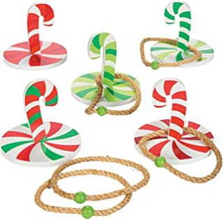 Fun Express Christmas Game Candy Cane Ring Toss (10 Piece Set) Winter Holiday Toys