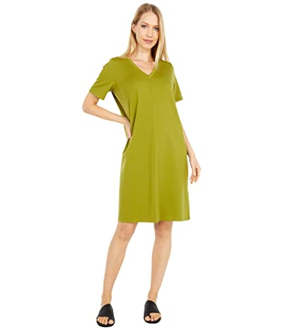 Eileen Fisher Organic Cotton Stretch Jersey V-Neck Short Sleeve Dress (Mustard Green) Women