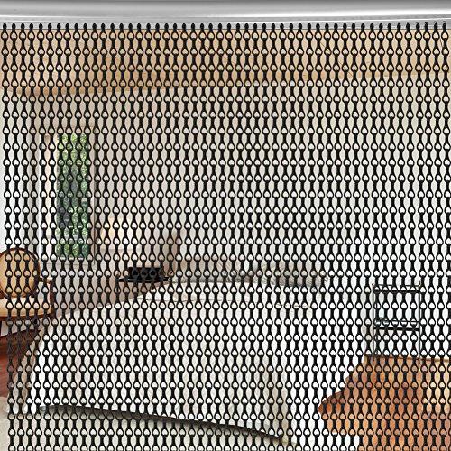 Aluminium Metallkette Vorhang Schädlingsbekämpfung Ketten Vorhang Türvorhang Sichtschutz/Insektenschutz 90 x 214,5cm (Schwarz)