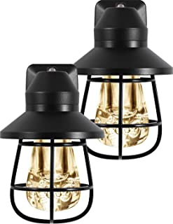 GE Vintage LED Night Light, 2 Pack, Plug-in, Dusk-to-Dawn, Farmhouse Décor, Rustic, UL Listed, Ideal for Bedroom, Nursery, Kitchen, Bathroom, Black Cage, 44737, 2
