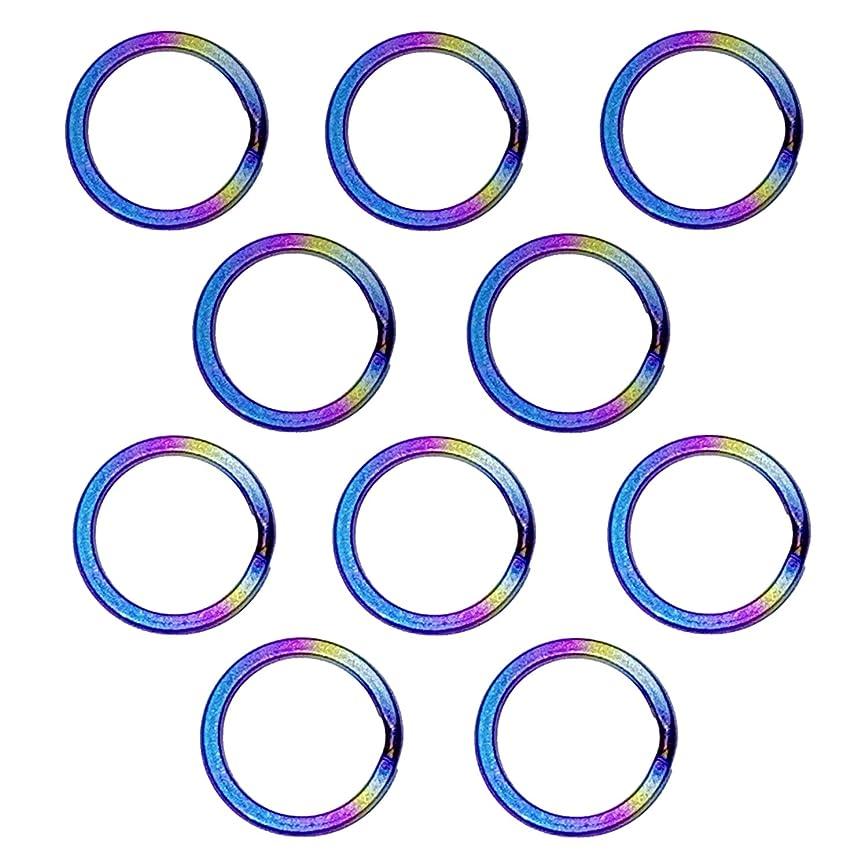 講義極端なバウンスCLAN チタン製キーリングセット 軽量で錆びないキーリング (直径18mm 内径14mm, 虹色 10点)