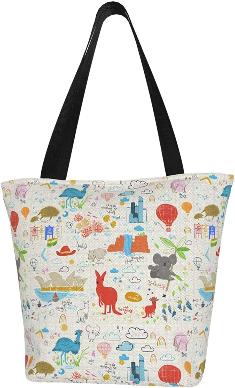 Koala Cartoon Kangaroo Ostrich Lattice Themed Printed Women Canvas Handbag Zipper Shoulder Bag Work Booksbag Tote Purse Leisure Hobo Bag For Shopping