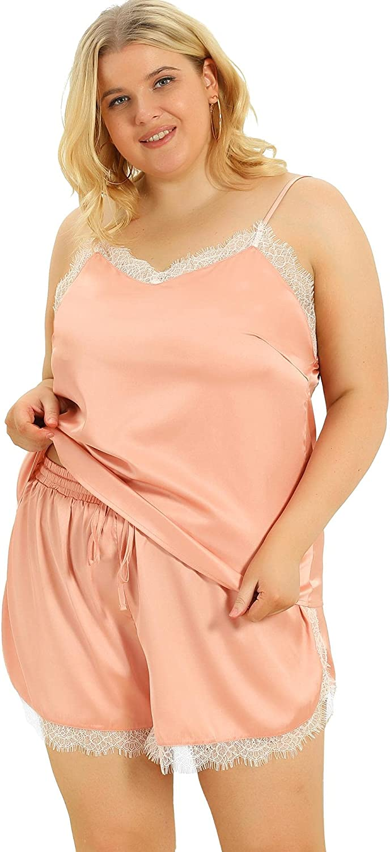 Agnes Orinda Women's Plus Size Cami Sleep Set Lace Panel Elastic Waist Shorts Sleepwear Pajamas Mothers Day