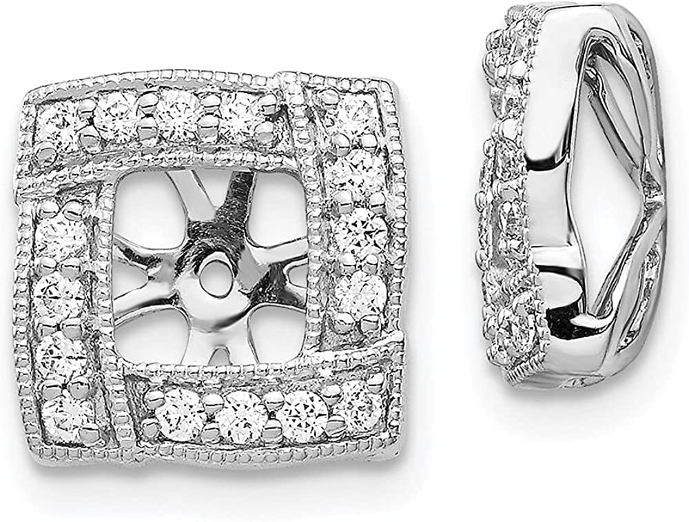 14k White Gold Lab Grown Diamond Earrings Jacket (Clarity- SI1/SI2, Color- G-H)