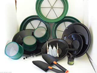"""Gold Panning Kit with 10 20 30 Mini Classifiers 1/2 1/8 1/4 Large Classifiers 14"""" 12"""" 10"""" 8"""" Black Gold Pans & Much More!"""
