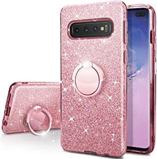 Galaxy S10 Case,Silverback Girls Bling Glitter Sparkle Cute Phone Case with 360 Rotating Ring Stand, Soft TPU Outer Cover ...