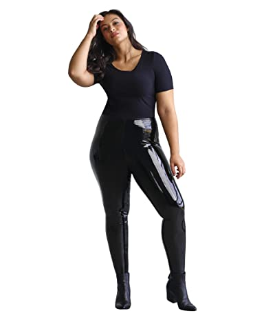 Commando Plus Size Faux Patent Leggings with Perfect Control+ SLG25W (Black) Women