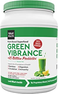 Vibrant Health, Green Vibrance, Plant-Based Superfood Powder, 25 Billion Probiotics Per Scoop, Vegan Friendly, 83 Servings...