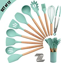 Silicone Kitchen Utensil Set, Cooking Spatulas Soup Ladle Slotted Spoon Turner Pasta Server Basting Brush Tongs Whisk Wood...