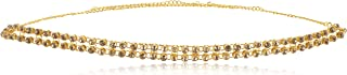 WomenSky Stylish Gold Polished Pearl Design Peral Kamarpatta Chain for Women (Golden White)