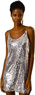 Women's Glitter Sparkle Adjustable Strap Mini Party Sequin Dress