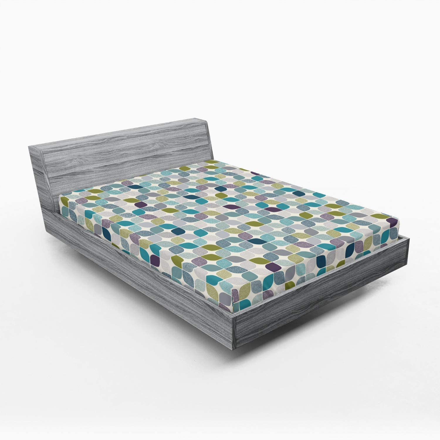 Ambesonne Luxury goods Vintage Fitted Sheet Geometric Same day shipping Style Retro F Abstract