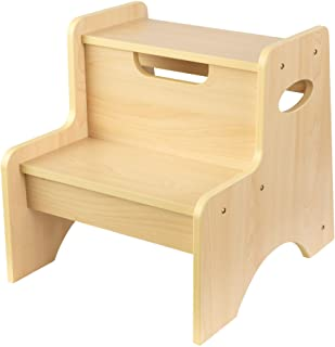 KidKraft Wooden Two-Step Children's Stool with Handles - Natural, Gift for Ages 3-8