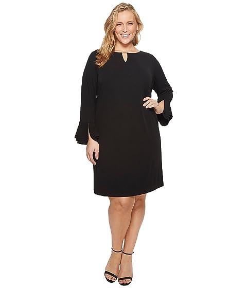 Calvin Klein Plus Plus Size Triple Flare Sleeve Dress at Zappos.com