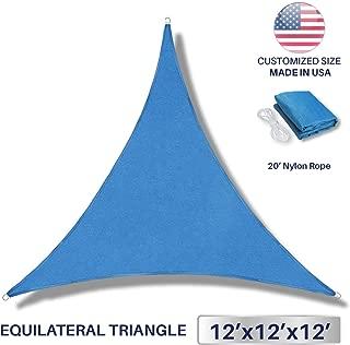 Windscreen4less 12' x 12' x 12' Sun Shade Sail UV Block Fabric Canopy in Blue Triangle Garden Patio Customized (3 Year Warranty)